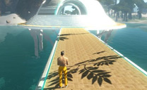 Avatar walking on a bridge in Entropia Universe